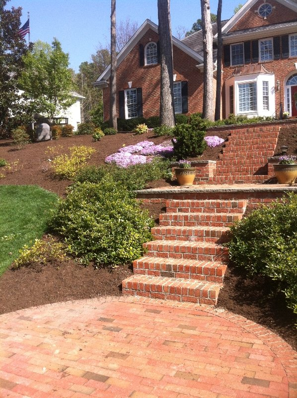 Mulch install cary nc sod mulch for Landscaping rocks wake forest nc