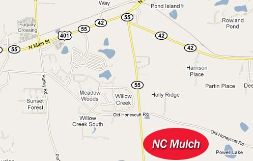 Map of NC Mulch Locations