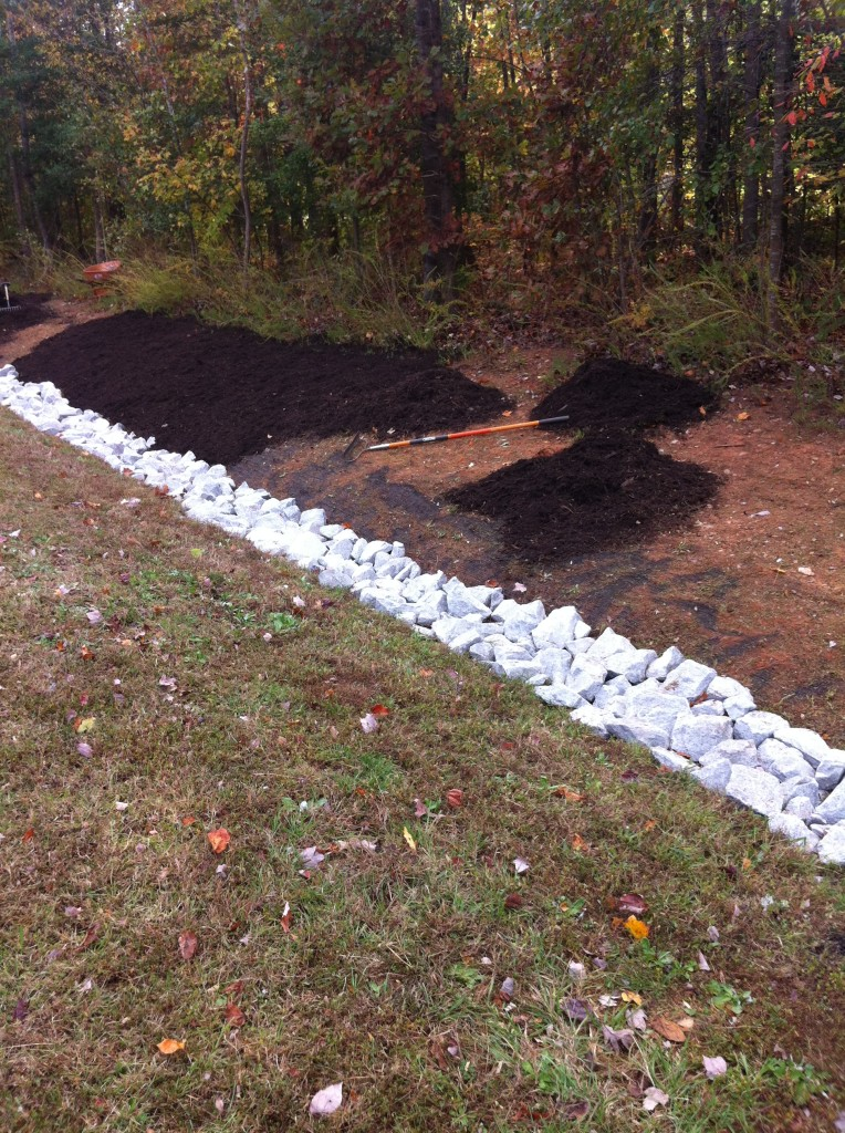 Rip rap ditch1 for Landscaping rocks wake forest nc